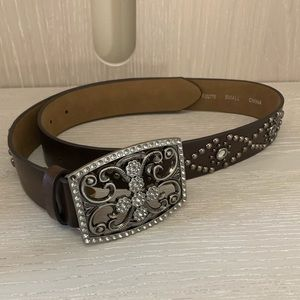 Brown Rhinestoned Guess Belt